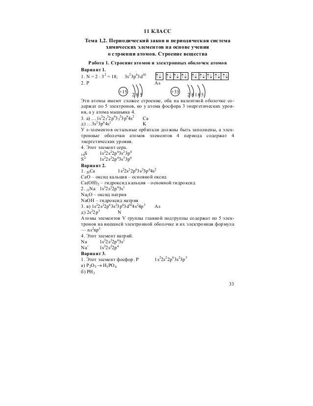 строение вещества химия 11 класс контрольная работа