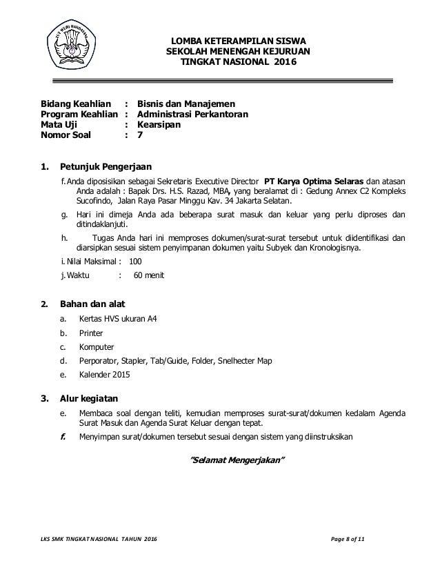 Soal Teori Kejuruan Administrasi Perkantoran Dan Kunci Jawaban 2016 Bali Teacher