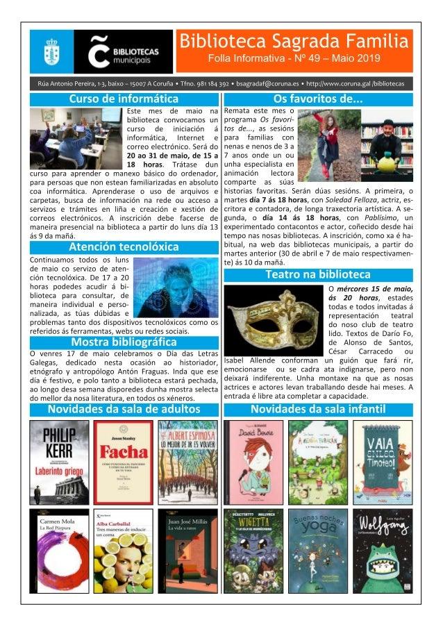 Boletín Informativo de maio 2019 da Biblioteca Sagrada Familia da Coruña