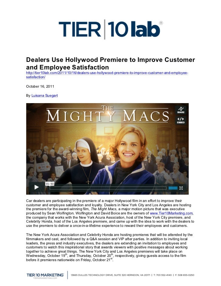 Dealers Use Hollywood Premiere to Improve Customerand Employee Sat...