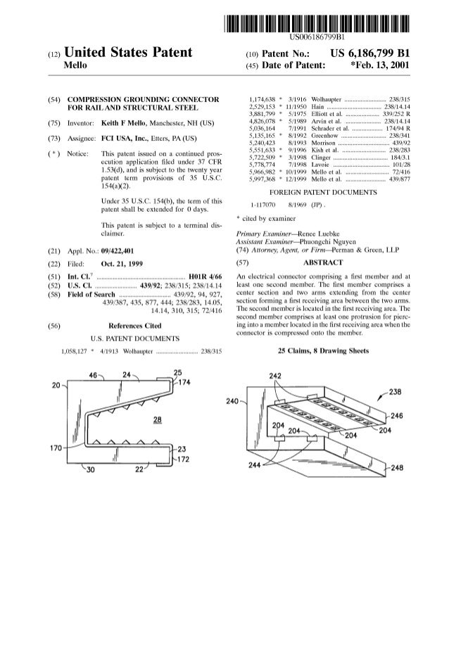 (12) United States Patent Mello (54) COMPRESSION GROUNDING CONNECTOR FOR RAIL AND STRUCTURAL STEEL (75) Inventor: Keith F ...