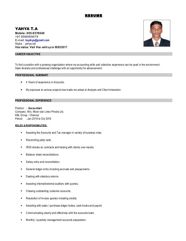 yahya Accountant Uae Cv