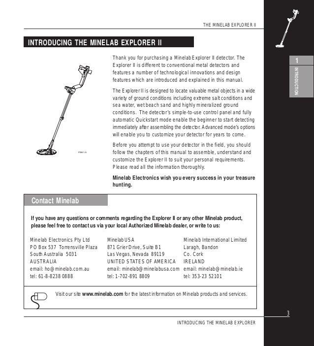 Instruction Manual Minelab Explorer Ii Metal Detector English Languag