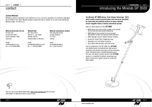 instruction manual minelab gp 3500 metal detector english language we rh slideshare net Owner's Manual Bissell PowerSteamer User Manual
