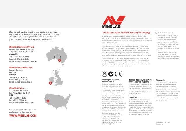 Quick Start Manual Minelab GPX-4500 Metal Detector English
