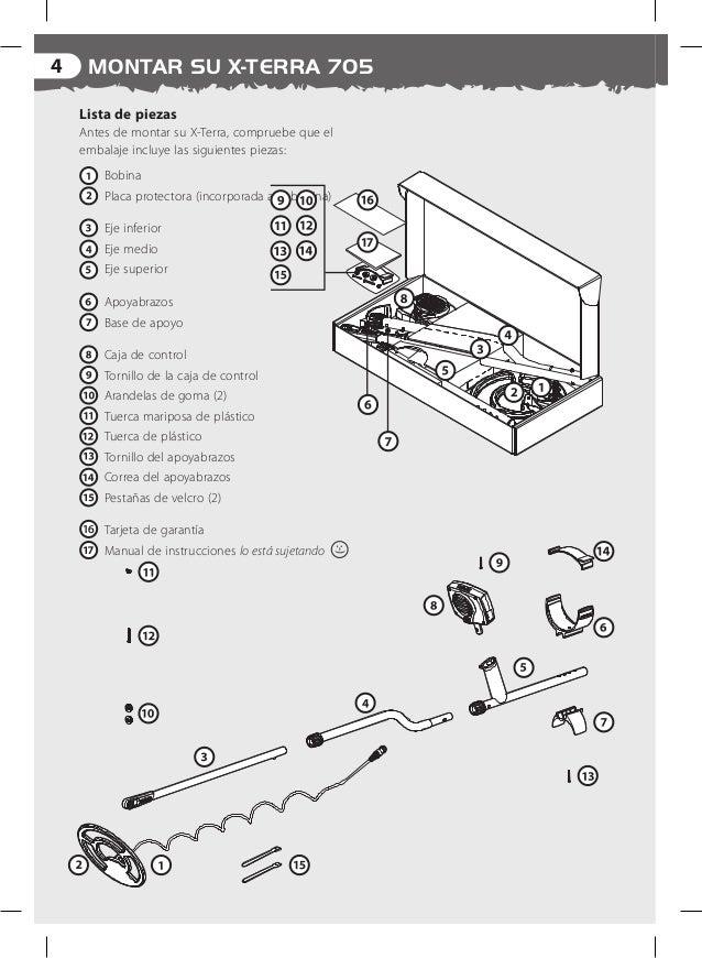 Instruction Manual X-TERRA 705 Metal Detector Spanish