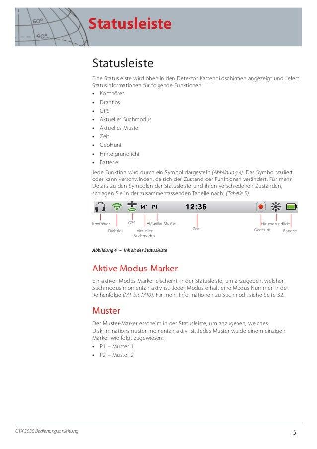 5 Statusleiste CTX 3030 Bedienungsanleitung Statusleiste Eine Statusleiste wird oben in den Detektor Kartenbildschirmen an...