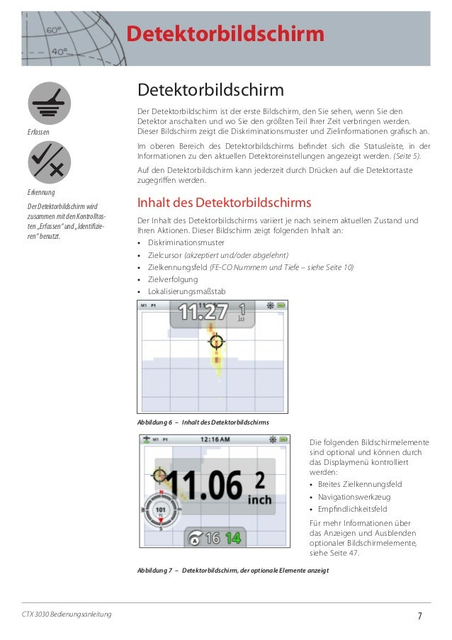 7 Detektorbildschirm CTX 3030 Bedienungsanleitung Detektorbildschirm Der Detektorbildschirm ist der erste Bildschirm, den ...