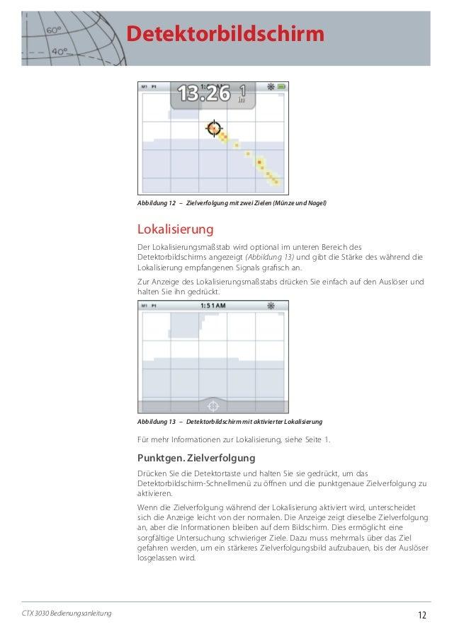 12 Detektorbildschirm CTX 3030 Bedienungsanleitung Abbildung 12 – Zielverfolgung mit zwei Zielen (Münze und Nagel) Lokal...