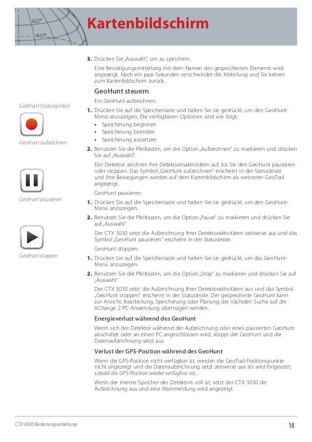 """18 Kartenbildschirm CTX 3030 Bedienungsanleitung 3. Drücken Sie """"Auswahl"""", um zu speichern. Eine Bestätigungsmitteilung m..."""