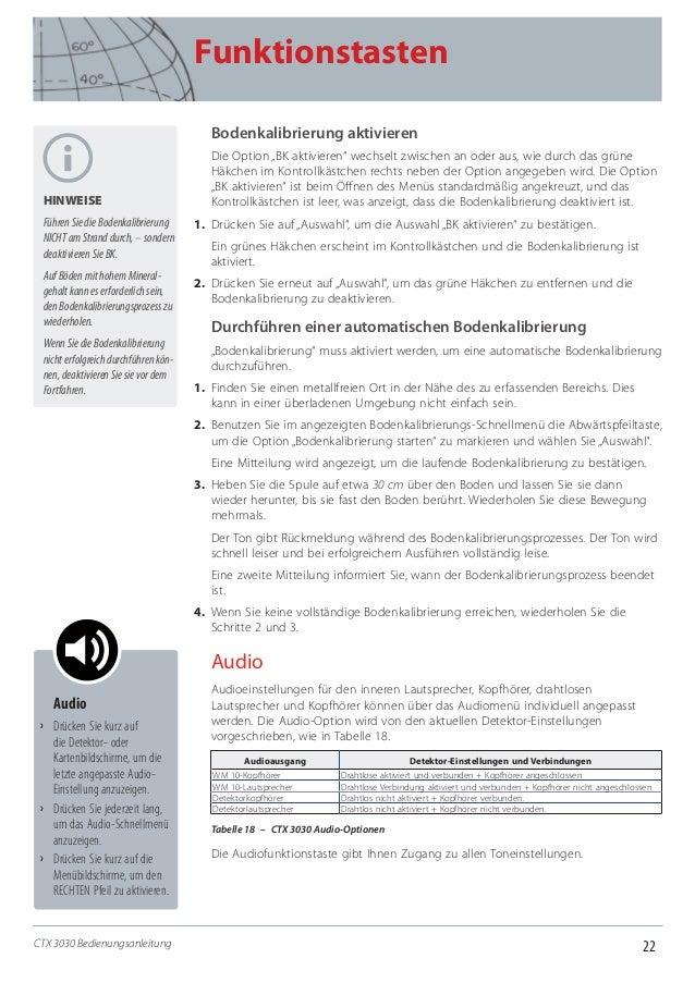 """22 Funktionstasten CTX 3030 Bedienungsanleitung Bodenkalibrierung aktivieren Die Option """"BK aktivieren"""" wechselt zwischen ..."""