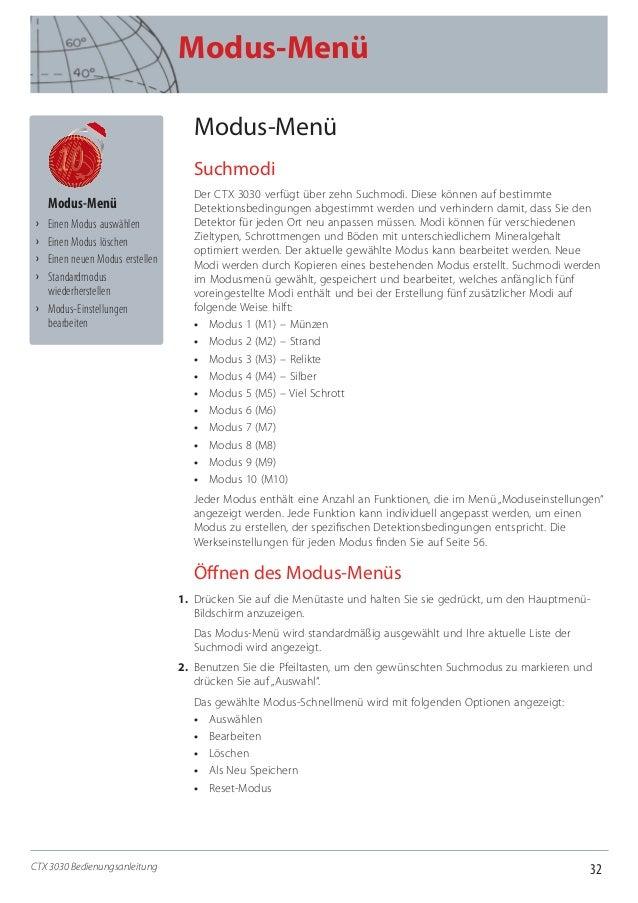 32 Modus-Menü CTX 3030 Bedienungsanleitung Modus-Menü Suchmodi Der CTX 3030 verfügt über zehn Suchmodi. Diese können auf b...