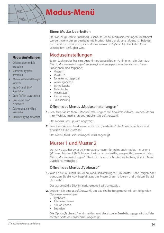 """34 Modus-Menü CTX 3030 Bedienungsanleitung Einen Modus bearbeiten Der aktuell gewählte Suchmodus kann im Menü """"Moduseinste..."""