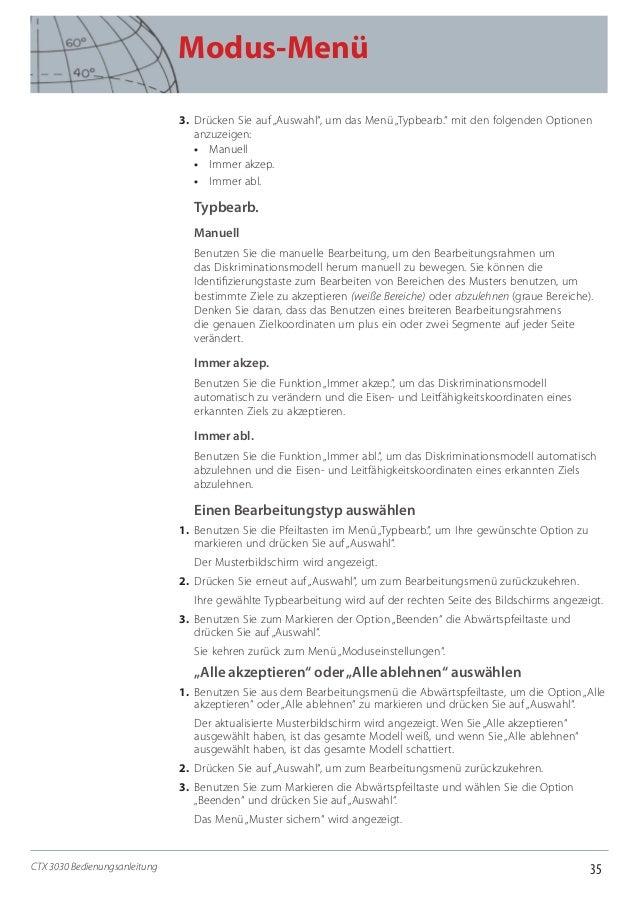"""35 Modus-Menü CTX 3030 Bedienungsanleitung 3. Drücken Sie auf """"Auswahl"""", um das Menü """"Typbearb."""" mit den folgenden Option..."""
