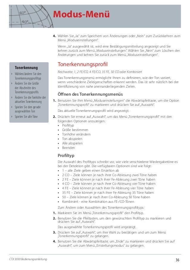 """36 Modus-Menü CTX 3030 Bedienungsanleitung 4. Wählen Sie """"Ja"""" zum Speichern von Änderungen oder """"Nein"""" zum Zurückkehren z..."""