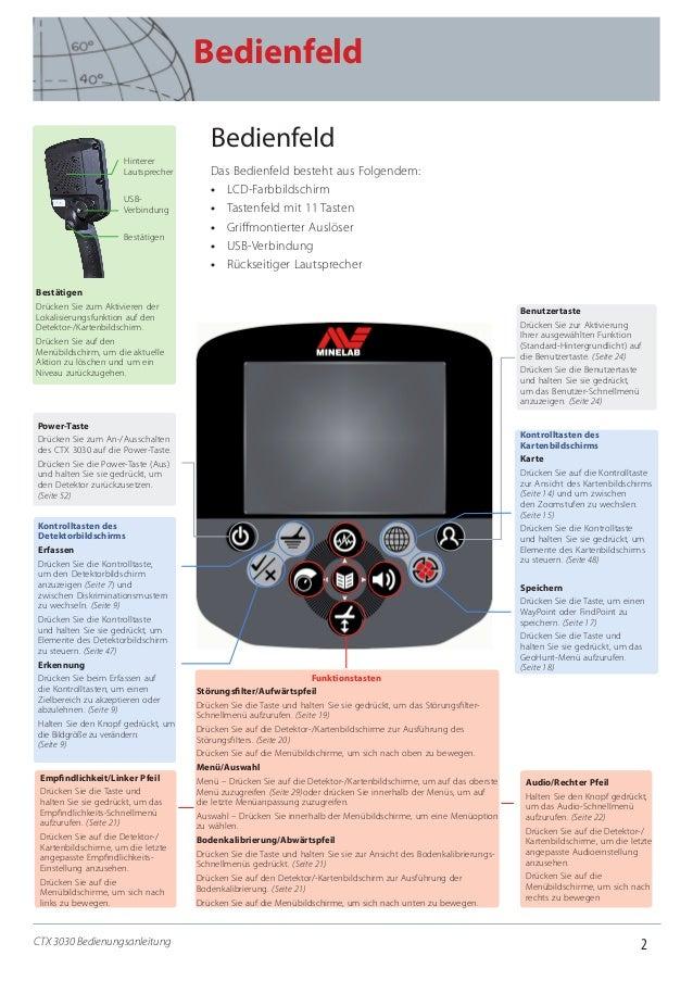 2 Bedienfeld CTX 3030 Bedienungsanleitung Bedienfeld Das Bedienfeld besteht aus Folgendem: •• LCD-Farbbildschirm •• Tasten...