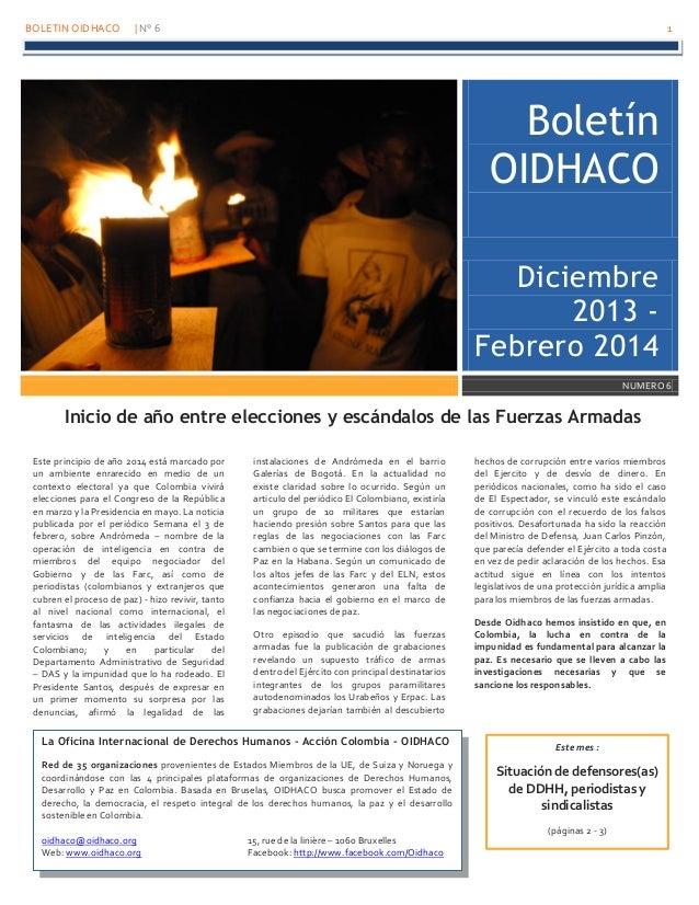 BOLETIN OIDHACO | N° 6 1 La Oficina Internacional de Derechos Humanos - Acción Colombia - OIDHACO Red de 35 organizaciones...
