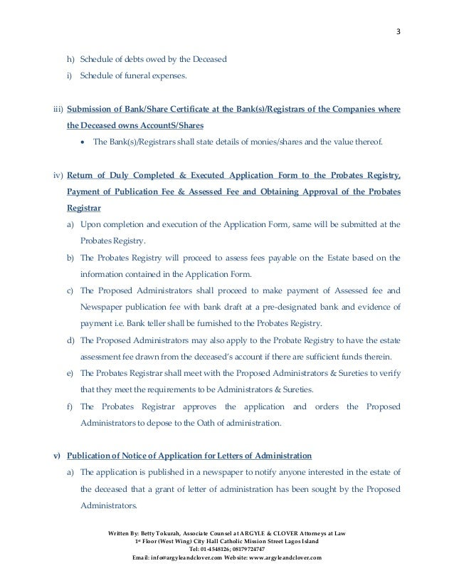 PROCEDURE FOR OBTAINING LETTERS OF ADMINISTRATTION