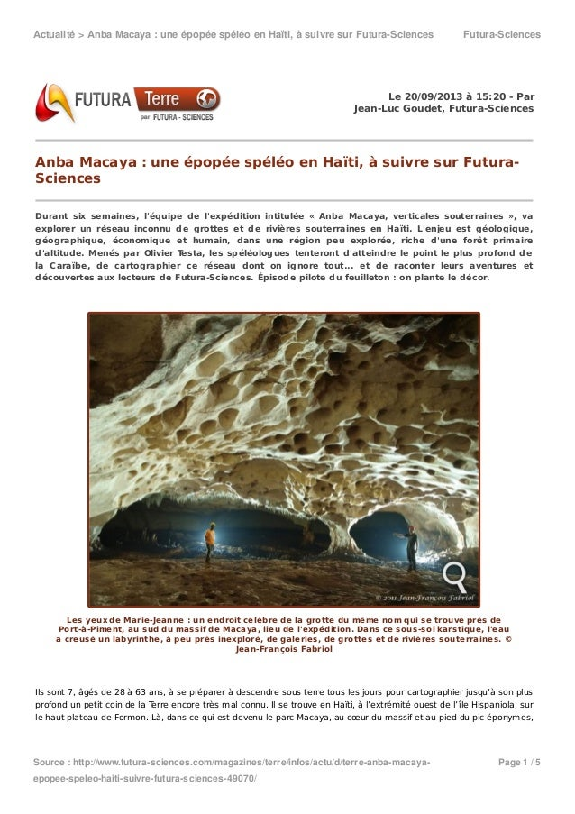 Actualité>AnbaMacaya:uneépopéespéléoenHaïti,àsuivresurFutura-Sciences Futura-Sciences Source:http://www.fut...