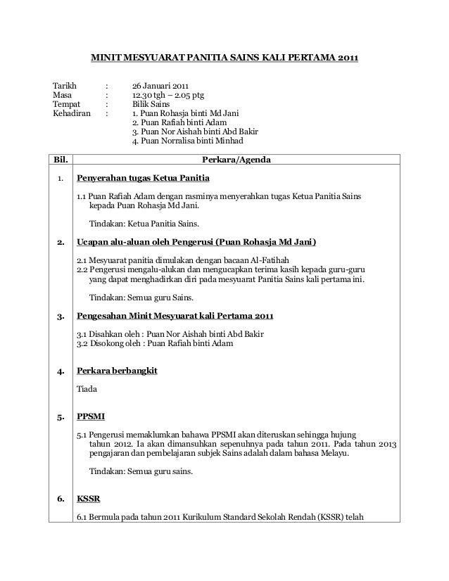 49073081 Minit Mesyuarat Panitia Sains Kali Pertama 2011