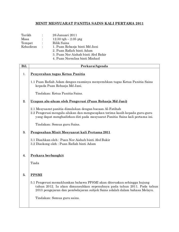 49073081 Minit Mesyuarat Panitia Sains Kali Pertama 2011 1