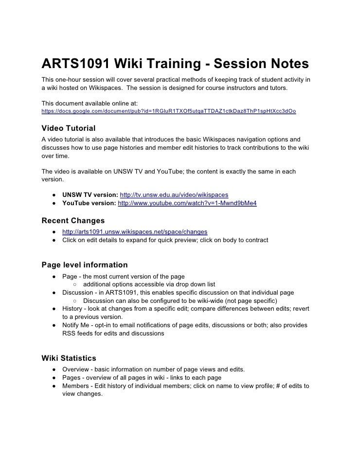 ARTS1091 Wiki Training - Session Notes This one-hour session will cover several practical methods of keeping track of stud...
