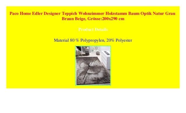 Paco Home Edler Designer Teppich Wohnzimmer Holzstamm Baum