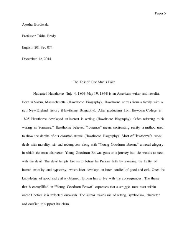 Young Goodman Brown Symbolism Essay Vatozozdevelopment