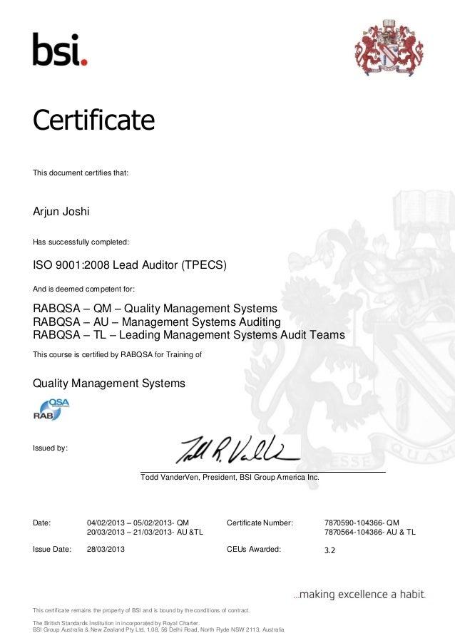 Qm Lead Auditor Certificate