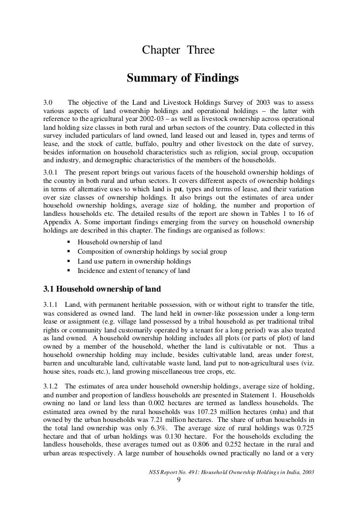 Chapter Three                             Summary of Findings3.0      The objective of the Land and Livestock Holdings Sur...