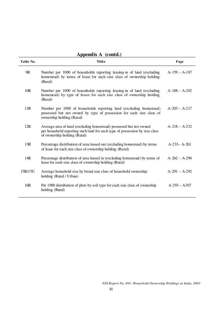 Appendix A (contd.)Table No.                                       Title                                              Page...