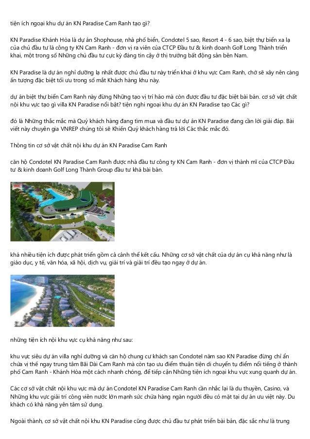 tiện ích ngoại khu dự án KN Paradise Cam Ranh tạo gì? KN Paradise Khánh Hòa là dự án Shophouse, nhà phố biển, Condotel 5 s...