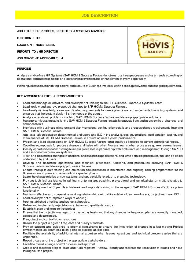 Hr Process Projects  Systems Manager  Job Description