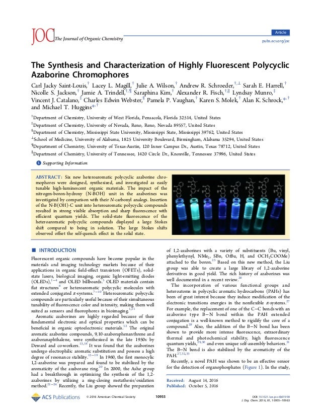 The Synthesis and Characterization of Highly Fluorescent Polycyclic Azaborine Chromophores Carl Jacky Saint-Louis,† Lacey ...