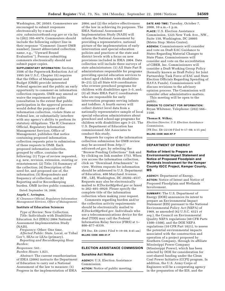 Federal Register / Vol. 73, No. 184 / Monday, September 22, 2008 / Notices                                              54...
