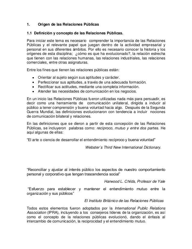 Origen de las Relaciones Públicas 1.1 Definición y concepto de las  Relaciones Públicas. 8c8f8b54a16