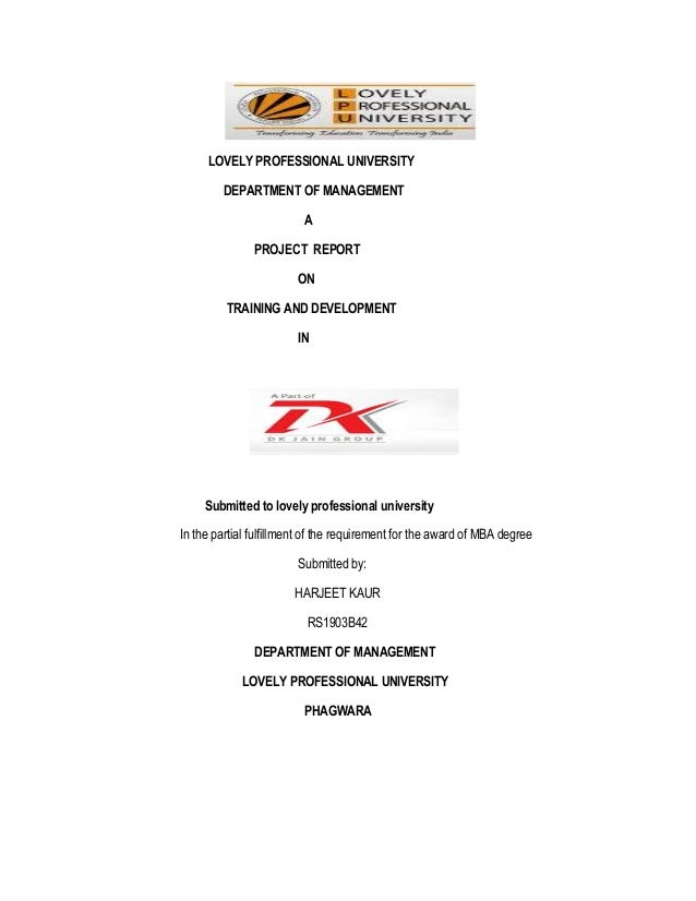 LOVELY PROFESSIONAL UNIVERSITY         DEPARTMENT OF MANAGEMENT                         A               PROJECT REPORT    ...