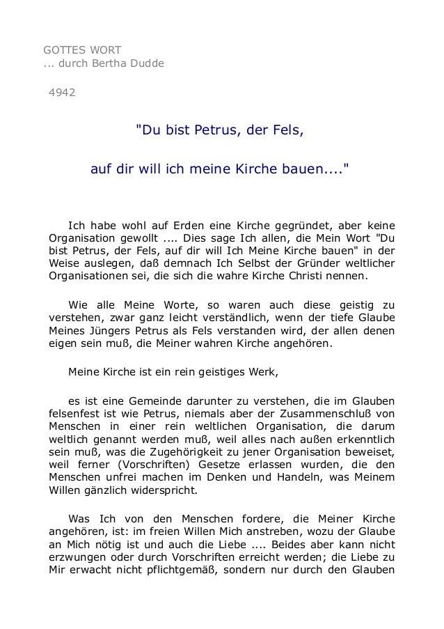 """GOTTES WORT ... durch Bertha Dudde 4942 """"Du bist Petrus, der Fels, auf dir will ich meine Kirche bauen...."""" Ich habe wohl ..."""