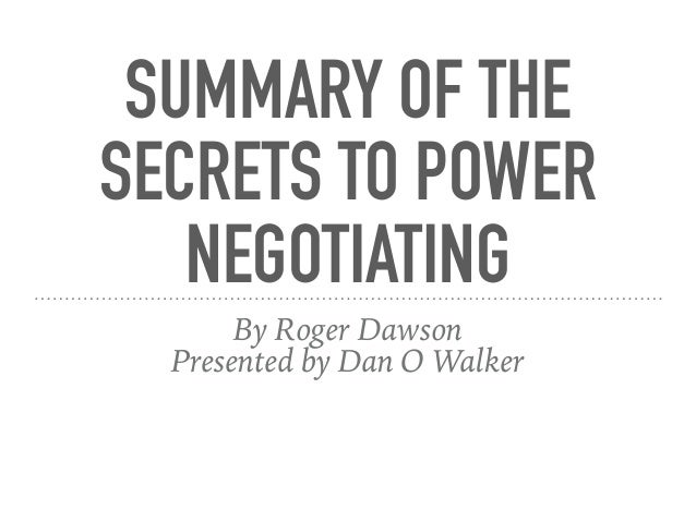 the power of negotiations Sources of power in negotiations positional power or the power of legitimate authority zyou do what i say because i'm the boss - that's why zlike it or not - that's the law prof mary p rowe—mit, cambridge, ma 02139.