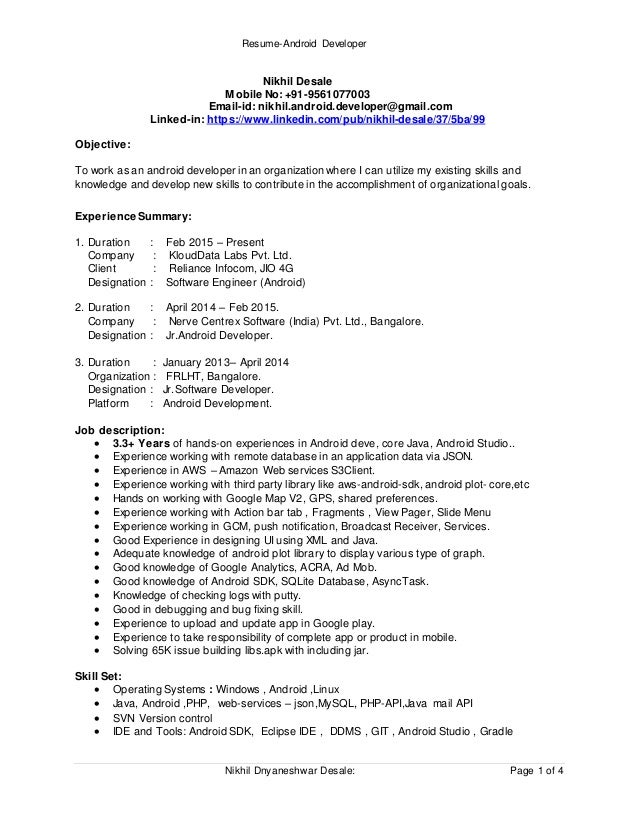 Beautiful Resume Android Developer Nikhil Dnyaneshwar Desale: Page 1 Of 4 Nikhil  Desale Mobile No ... Ideas Android Developer Resume