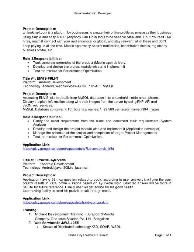 ResumeAndroid Developer – Android Developer Resume