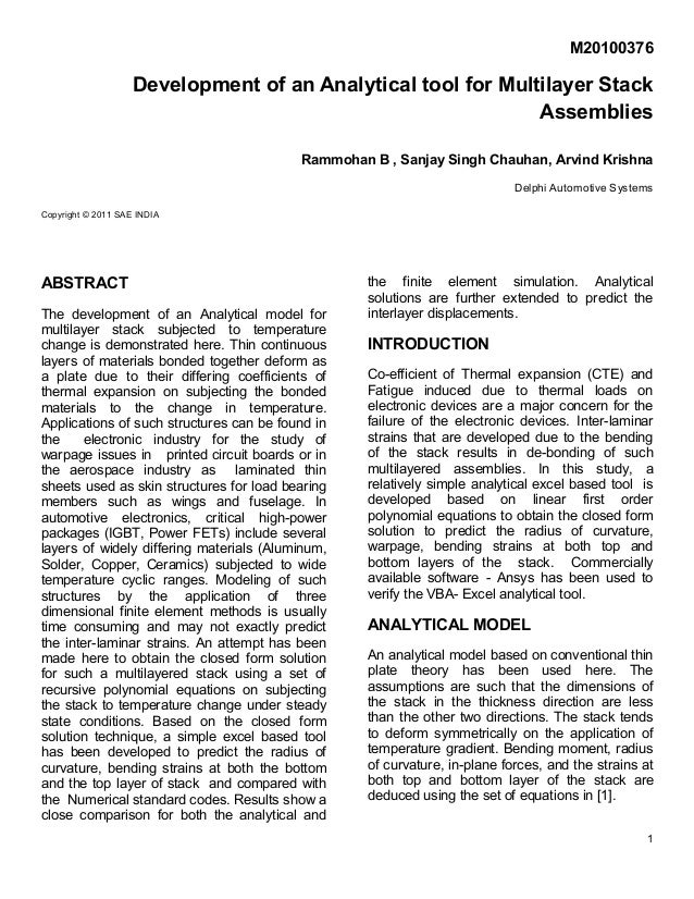1 M20100376 Development of an Analytical tool for Multilayer Stack Assemblies Rammohan B , Sanjay Singh Chauhan, Arvind Kr...