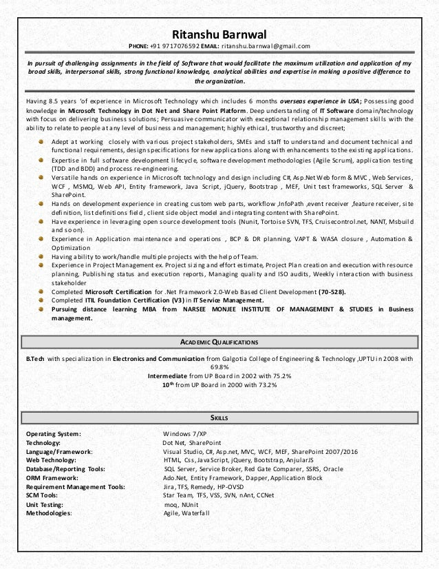 Wonderful Microsoft Technical Lead Resume (1). Ritanshu Barnwal PHONE: +91 9717076592  EMAIL: Ritanshu.barnwal@gmail.com ... On Technical Lead Resume