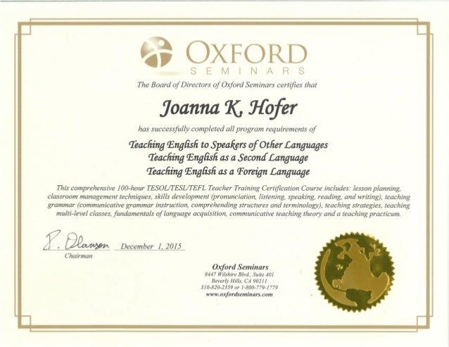 Joanna hofer tesol certification for Tefl certificate template