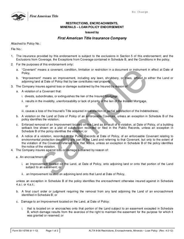 ALTA 9 Checklist Endorsements