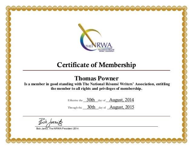 the national resume writers association tom powner membership