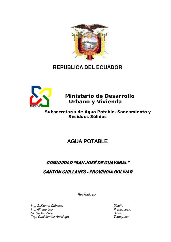 REPUBLICA DEL ECUADOR                      Ministerio de Desarrollo                       Urbano y Vivienda         Subsec...