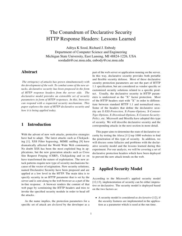 The Conundrum of Declarative Security                      HTTP Response Headers: Lessons Learned                         ...