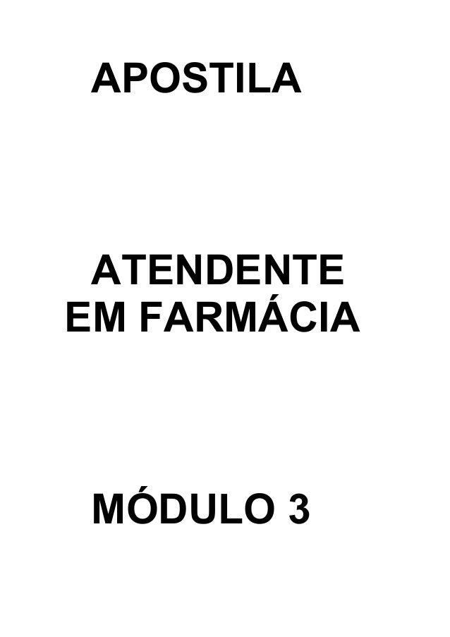 APOSTILA  ATENDENTE  EM FARMÁCIA  MÓDULO 3
