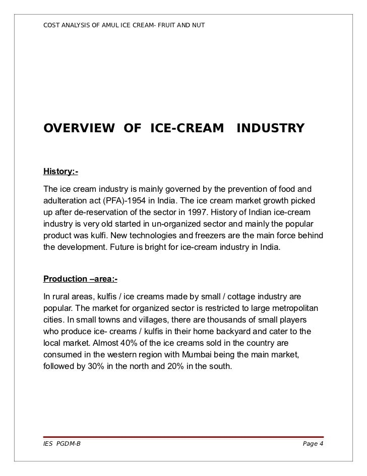 Project report on indian ice cream market